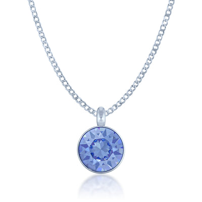 Bella Pendant Necklace with Blue Light Sapphire Round Crystals from Swarovski Silver Toned Rhodium Plated - Ed Heart