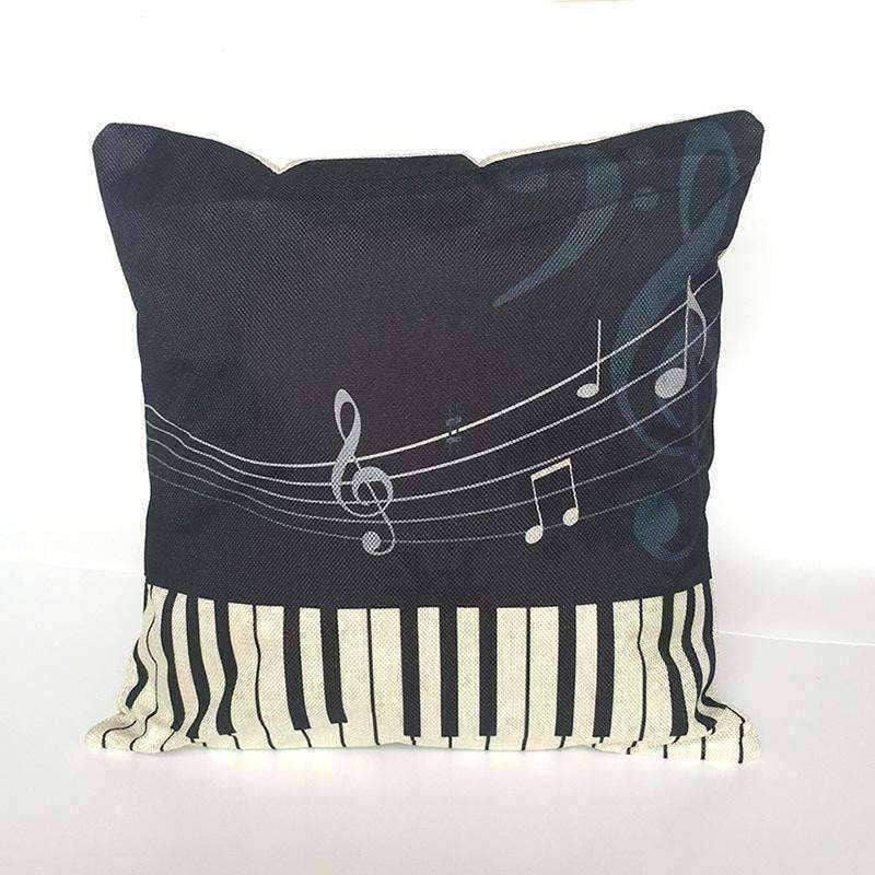 Music Bumblebees Black with Piano and Music Notes Music Themed Cushion Pillow Case Cover with Music Notes and Piano Various Patterns - Keyboard, Guitar, Piano, Saxephone, French Horn, Trumpet