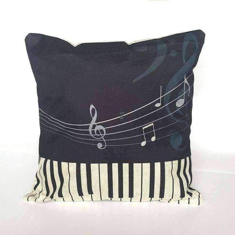 Image of Music Bumblebees Black with Piano and Music Notes Music Themed Cushion Pillow Case Cover with Music Notes and Piano Various Patterns - Keyboard, Guitar, Piano, Saxephone, French Horn, Trumpet