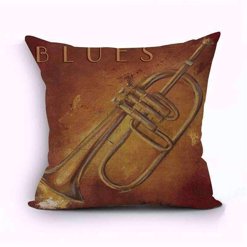 Music Bumblebees Brown with Flugelhorn - Blues Music Themed Cushion Pillow Case Cover with Music Notes and Piano Various Patterns - Keyboard, Guitar, Piano, Saxephone, French Horn, Trumpet