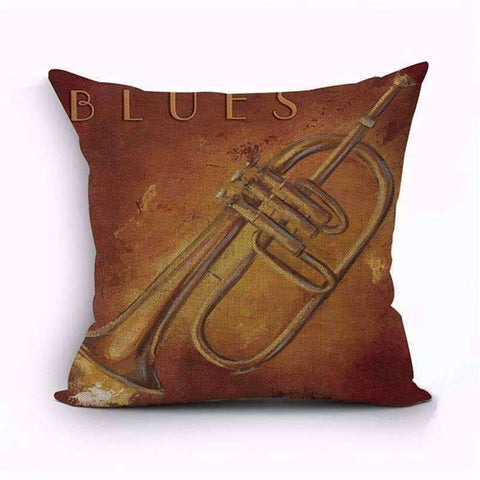 Image of Music Bumblebees Brown with Flugelhorn - Blues Music Themed Cushion Pillow Case Cover with Music Notes and Piano Various Patterns - Keyboard, Guitar, Piano, Saxephone, French Horn, Trumpet