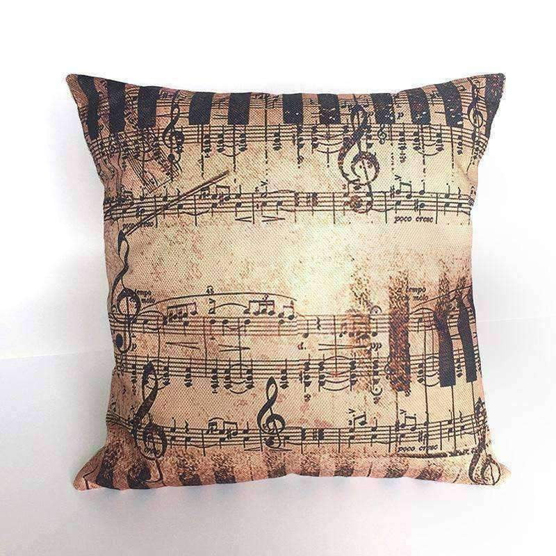 Music Bumblebees Brown with Keys and Music Notes Music Themed Cushion Pillow Case Cover with Music Notes and Piano Various Patterns - Keyboard, Guitar, Piano, Saxephone, French Horn, Trumpet