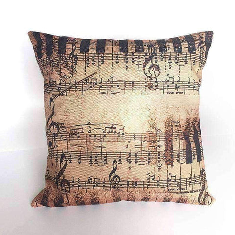 Image of Music Bumblebees Brown with Keys and Music Notes Music Themed Cushion Pillow Case Cover with Music Notes and Piano Various Patterns - Keyboard, Guitar, Piano, Saxephone, French Horn, Trumpet