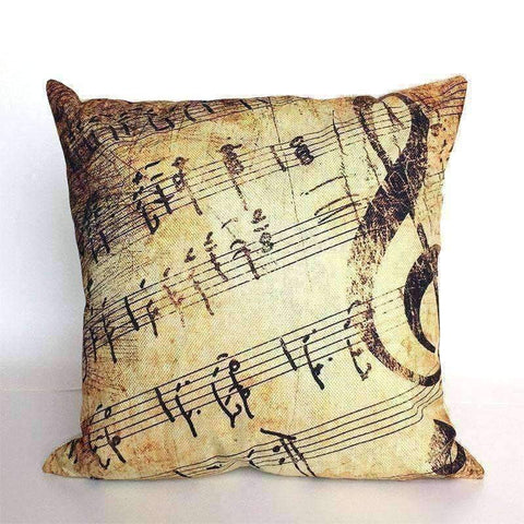 Image of Music Bumblebees Brown with Large G Clef and Music Scores Music Themed Cushion Pillow Case Cover with Music Notes and Piano Various Patterns - Keyboard, Guitar, Piano, Saxephone, French Horn, Trumpet