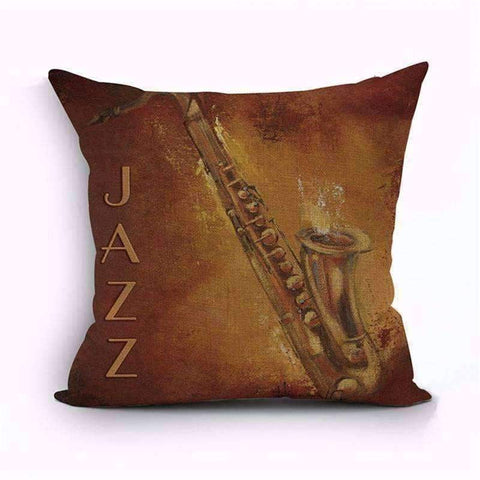 Image of Music Bumblebees Brown with Saxophone Music Themed Cushion Pillow Case Cover with Music Notes and Piano Various Patterns - Keyboard, Guitar, Piano, Saxephone, French Horn, Trumpet