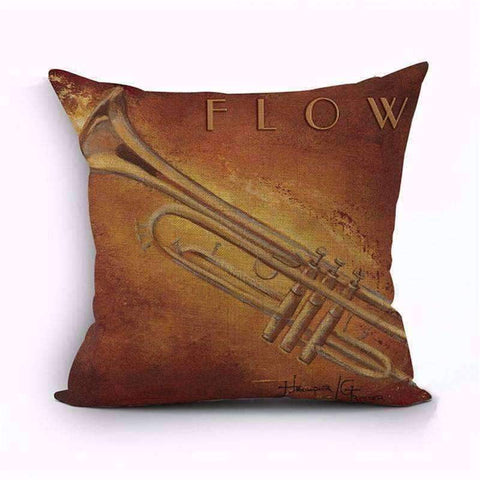 Image of Music Bumblebees Brown with Trumpet - Flow Music Themed Cushion Pillow Case Cover with Music Notes and Piano Various Patterns - Keyboard, Guitar, Piano, Saxephone, French Horn, Trumpet