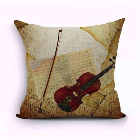 Image of Music Bumblebees Brown with Violin Music Themed Cushion Pillow Case Cover with Music Notes and Piano Various Patterns - Keyboard, Guitar, Piano, Saxephone, French Horn, Trumpet