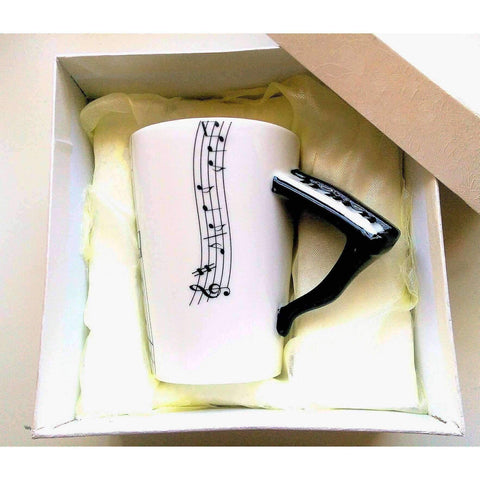 Image of Music Bumblebees Featured Products,Music Gifts,New Arrivals,For Teachers Music Themed Mug with Keyboard Handle