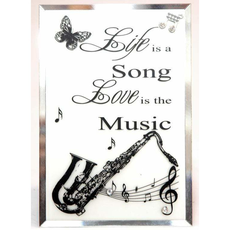 Music Bumblebees Featured Products,Music Gifts,New Arrivals Glass Plaque - Life is a Song