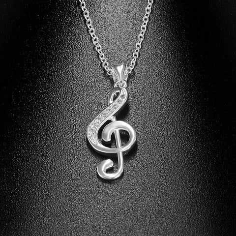 vendor-unknown Featured Products,Music Gifts,Products,Mother's Day Special G Clef / Treble Clef Music Note Necklace Silver - Music Gift