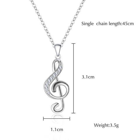 vendor-unknown Featured Products,Music Gifts,Products,Mother's Day Special G Clef / Treble Clef Music Note Necklace Silver with Crystals - Music Gift