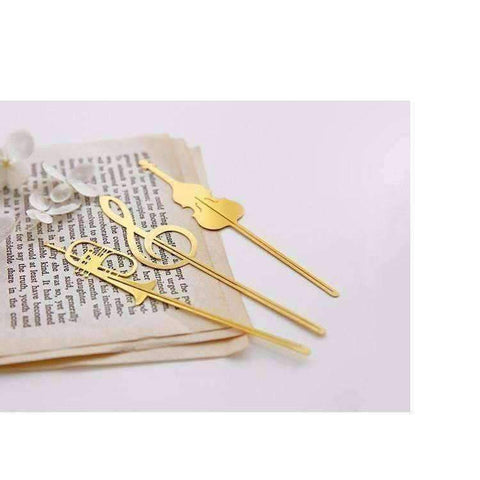 Image of Musical Instrument Gold Bookmark - Various Trumpet, French Horn, Cello and G Clef
