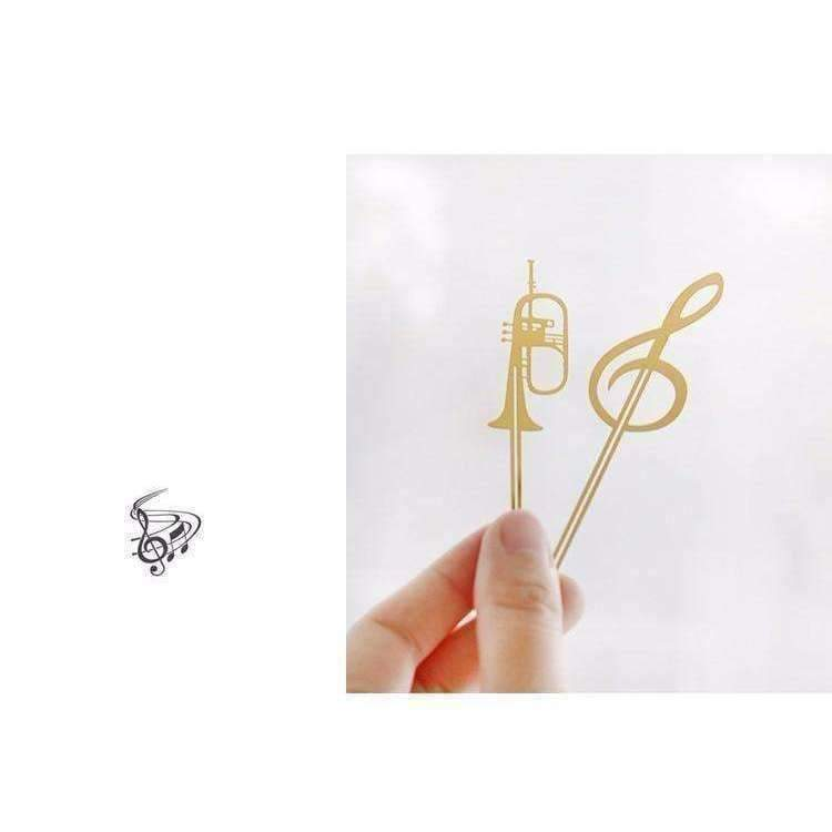 Musical Instrument Gold Bookmark - Various Trumpet, French Horn, Cello and G Clef