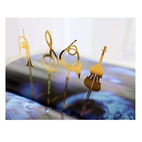 Image of Musical Instrument Gold Bookmark - Various Trumpet, French Horn, Cello and G Clef Featured Products,Products,Music Gifts,For Students,Specials,Mother's Day Special,Music Gifts for Kids - Music Bumblebees