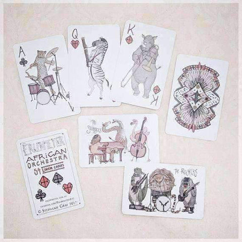 Image of Erlenmeyer Greeting Cards African Orchestra ~ Hand Illustrated Playing Cards featuring Animals Playing Musical Instruments by Stephanie Gray