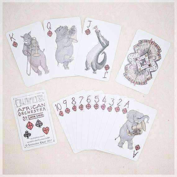 Erlenmeyer Greeting Cards African Orchestra ~ Hand Illustrated Playing Cards featuring Animals Playing Musical Instruments by Stephanie Gray