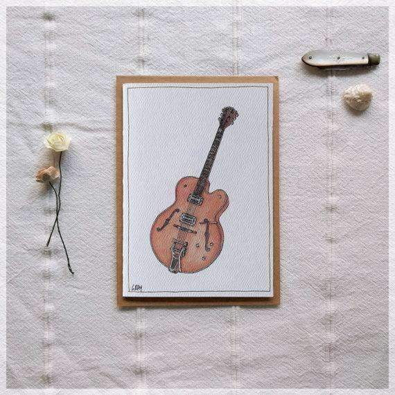 Archtop Guitar ~ Gift Card featuring Watercolour & Ink Illustration by Stephanie Gray Greeting Cards - Music Bumblebees