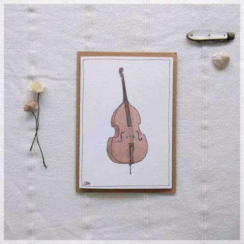 Image of Erlenmeyer Greeting Cards Double Bass ~ Gift Card featuring Watercolour & Ink Illustration by Stephanie Gray