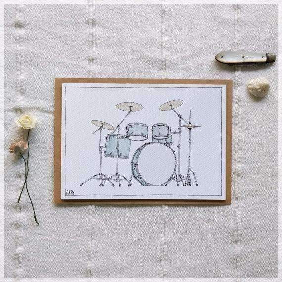 Drums ~ Gift Card featuring Watercolour & Ink Illustration by Stephanie Gray