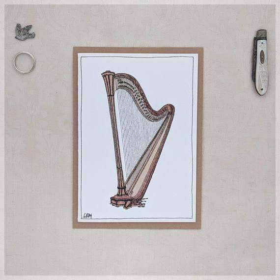 Harp ~ Gift Card featuring Watercolour & Ink Illustration by Stephanie Gray Greeting Cards - Music Bumblebees