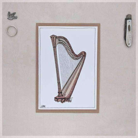 Image of Harp ~ Gift Card featuring Watercolour & Ink Illustration by Stephanie Gray Greeting Cards - Music Bumblebees