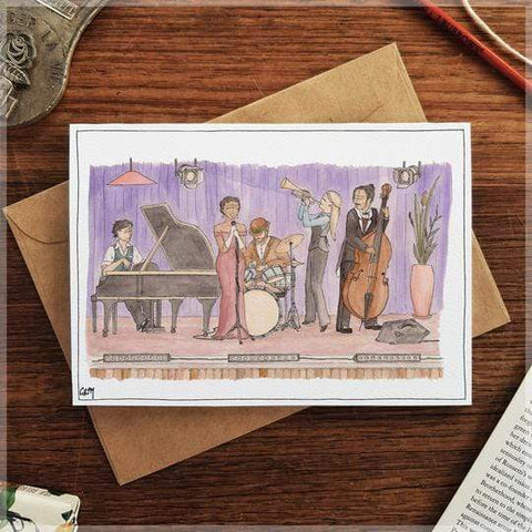 Image of Erlenmeyer Greeting Cards Jazz Scene ~ Gift Card featuring Watercolour & Ink Illustration by Stephanie Gray