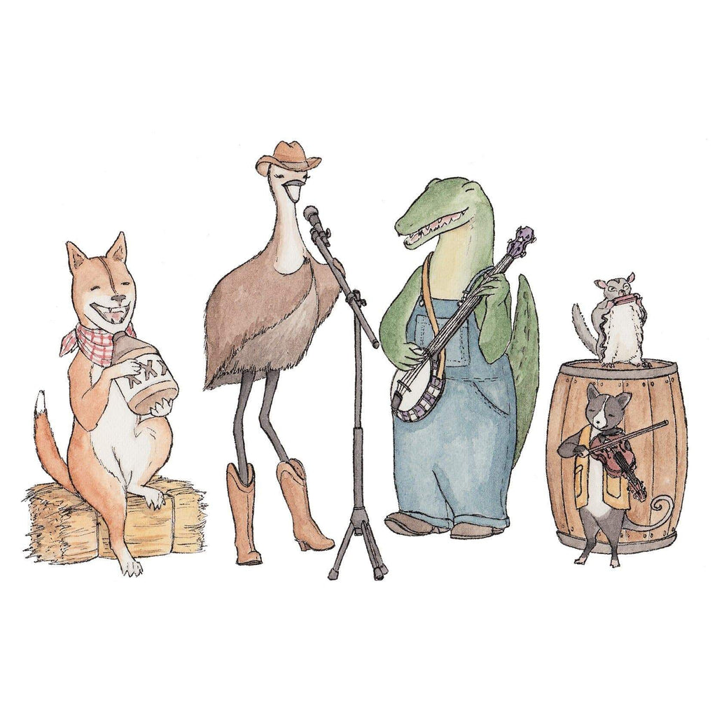 Erlenmeyer Greeting Cards Matilda and the Outback Boys ~ Greeting Card featuring Watercolour & Ink Illustration by Stephanie Gray
