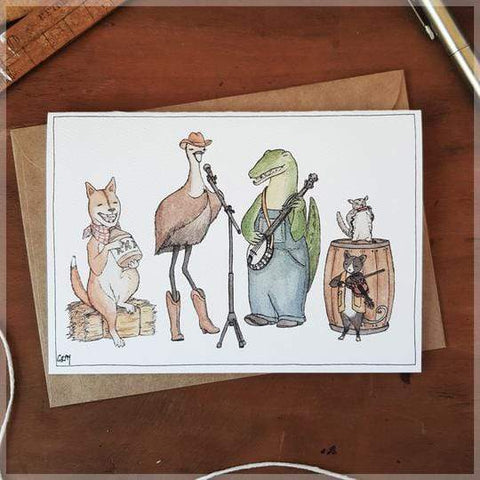 Image of Erlenmeyer Greeting Cards Matilda and the Outback Boys ~ Greeting Card featuring Watercolour & Ink Illustration by Stephanie Gray