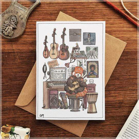 Image of Erlenmeyer Greeting Cards Red Panda's Music Room ~ Greeting Card featuring Watercolour & Ink Illustration by Stephanie Gray