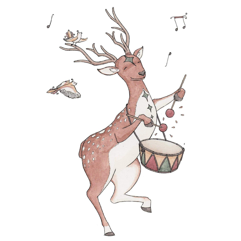 Erlenmeyer Greeting Cards Reindeer beating his Drum ~ Greeting Card featuring Watercolour & Ink Illustration by Stephanie Gray
