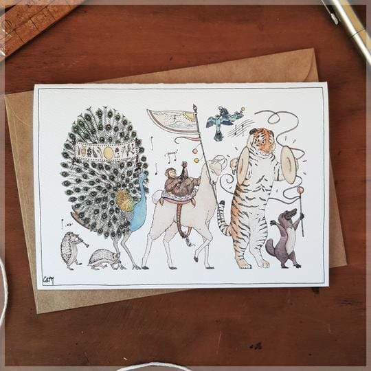 Erlenmeyer Greeting Cards Summer Parade ~ Greeting Card featuring Watercolour & Ink Illustration by Stephanie Gray