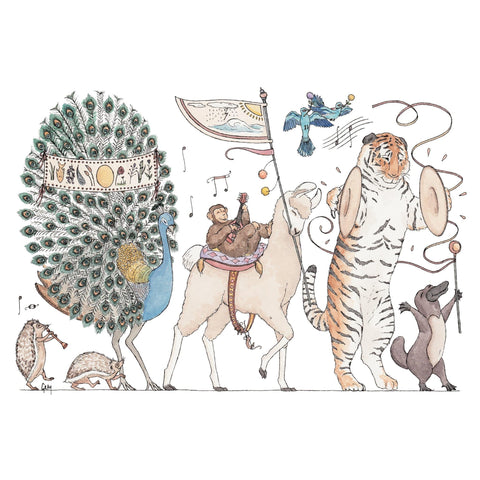 Image of Erlenmeyer Greeting Cards Summer Parade ~ Greeting Card featuring Watercolour & Ink Illustration by Stephanie Gray