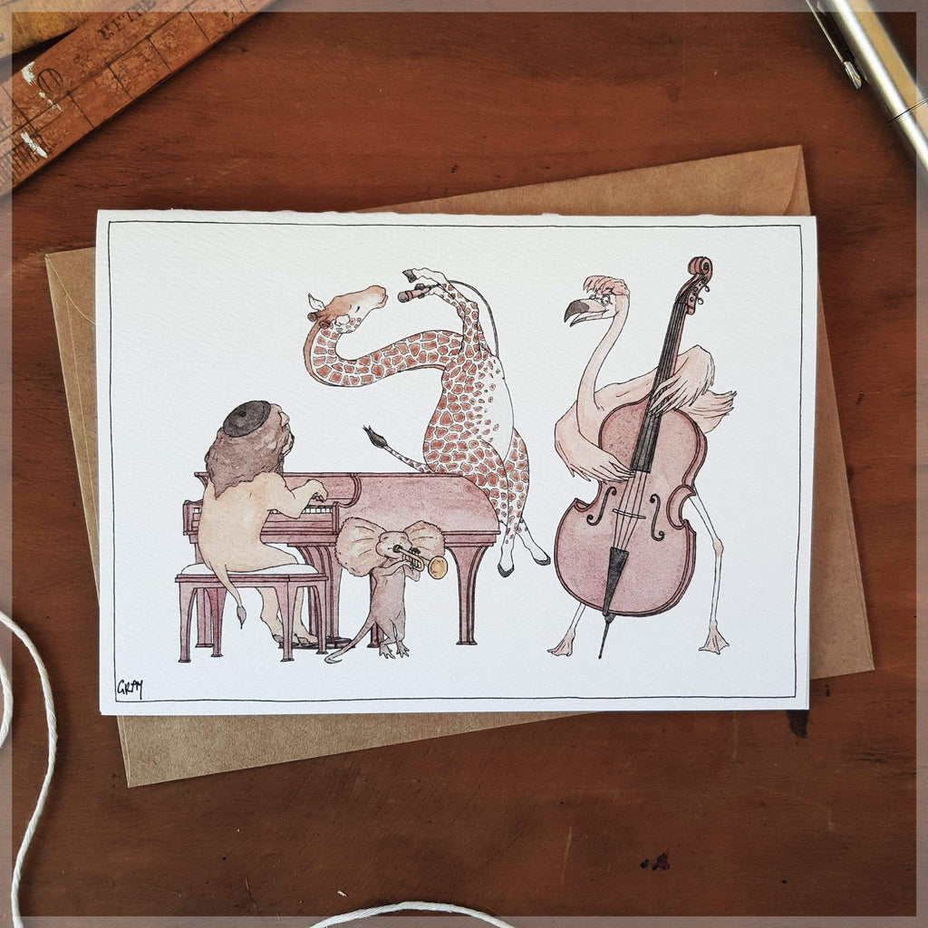 The Jazz Swingers ~ Greeting Card featuring Watercolour & Ink Illustration by Stephanie Gray