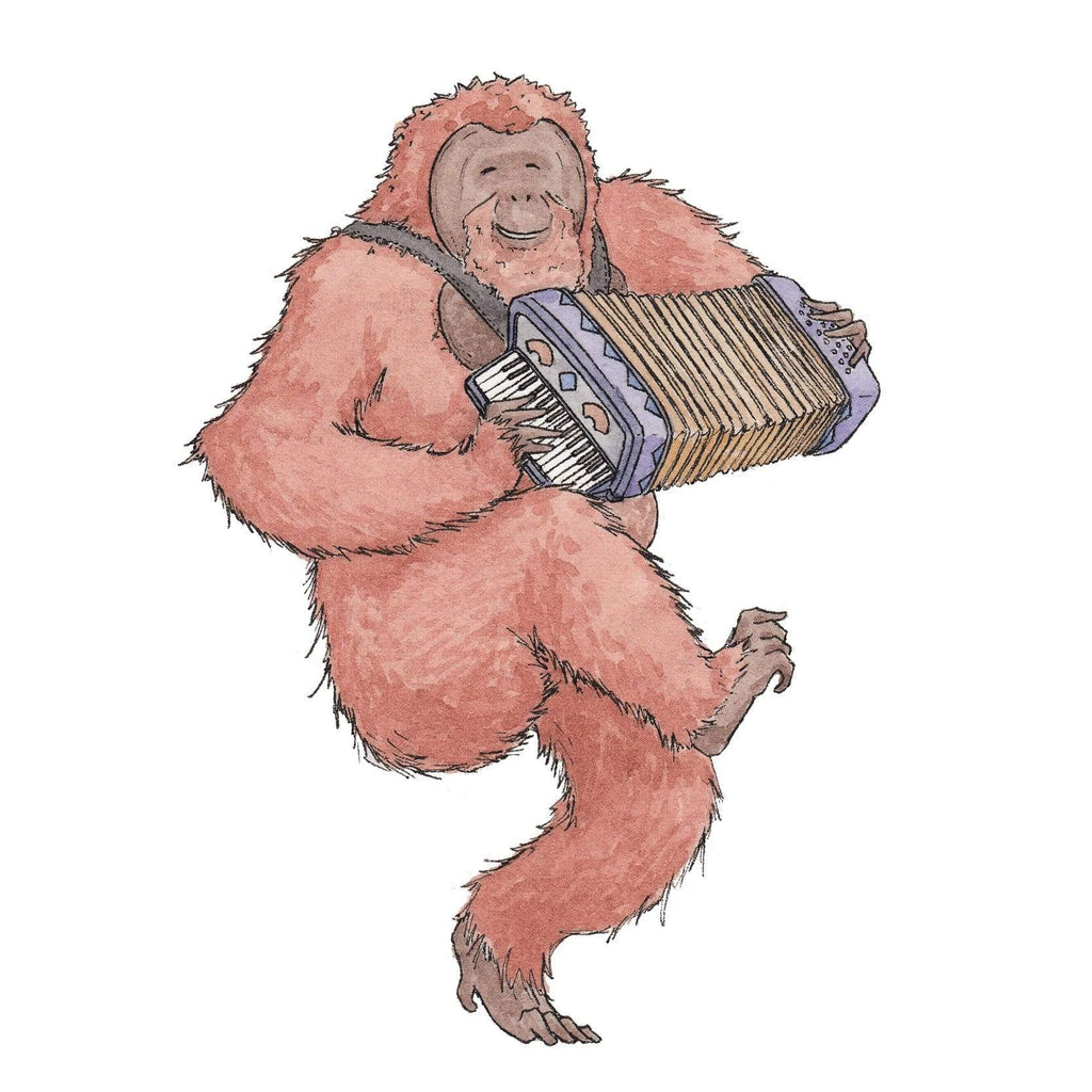 Erlenmeyer Greeting Cards The Orangutan with his Accordion ~ Greeting Card featuring Watercolour & Ink Illustration by Stephanie Gray
