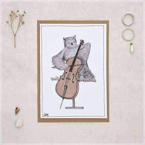 The Owl Her Cello Greeting Card From Original Ink And Watercolour Painting By Stephanie