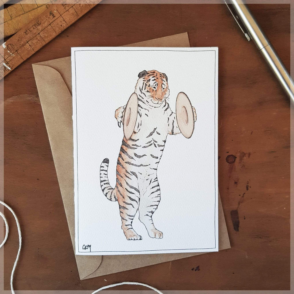 Erlenmeyer Greeting Cards The Tiger and his Cymbals ~ Greeting Card featuring Watercolour & Ink Illustration by Stephanie Gray