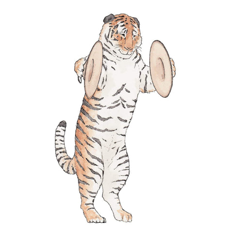 Image of Erlenmeyer Greeting Cards The Tiger and his Cymbals ~ Greeting Card featuring Watercolour & Ink Illustration by Stephanie Gray