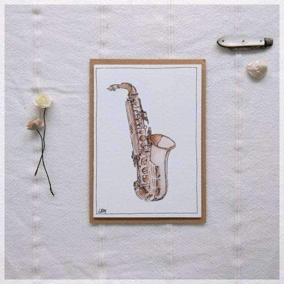 Erlenmeyer Greeting Cards Vintage Saxophone ~ Gift Card featuring Watercolour & Ink Illustration by Stephanie Gray