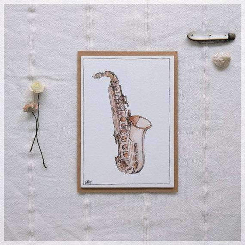 Image of Erlenmeyer Greeting Cards Vintage Saxophone ~ Gift Card featuring Watercolour & Ink Illustration by Stephanie Gray