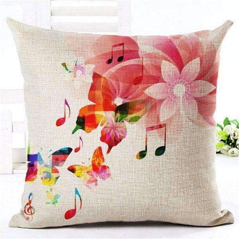 Image of Music Bumblebees Light Brown with Butterfly and Music Notes Music Themed Cushion Pillow Case Cover with Music Notes and Piano Various Patterns - Keyboard, Guitar, Piano, Saxephone, French Horn, Trumpet