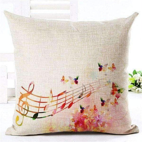 Image of Music Bumblebees Light Brown with Butterfly and Music Scores Music Themed Cushion Pillow Case Cover with Music Notes and Piano Various Patterns - Keyboard, Guitar, Piano, Saxephone, French Horn, Trumpet