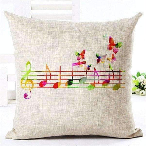 Image of Music Bumblebees Light Brown with Butterfly and Music Scores Straight Music Themed Cushion Pillow Case Cover with Music Notes and Piano Various Patterns - Keyboard, Guitar, Piano, Saxephone, French Horn, Trumpet