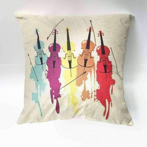 Image of Music Bumblebees Light Brown with Modern Violin Design Music Themed Cushion Pillow Case Cover with Music Notes and Piano Various Patterns - Keyboard, Guitar, Piano, Saxephone, French Horn, Trumpet