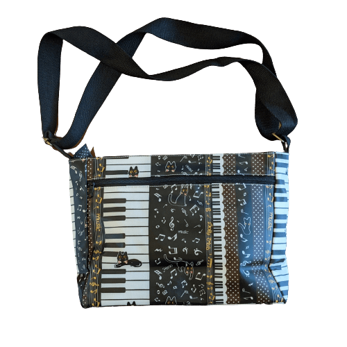 Music Bumblebees Music Bag Dark Brown Music Themed Water-resistant Music Themed Water-resistant Multi-Pocket Shoulder Bag - Kittens & Keys Series