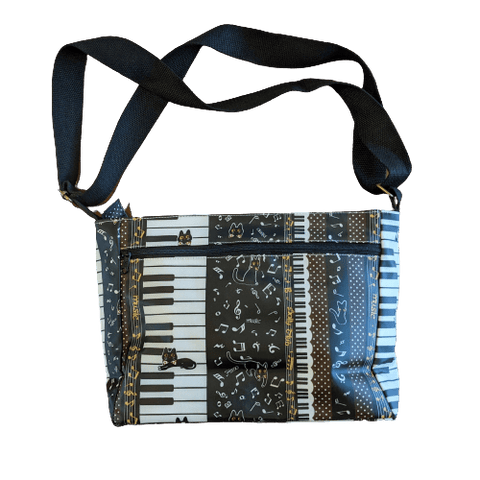 Image of Music Bumblebees Music Bag Dark Brown Music Themed Water-resistant Music Themed Water-resistant Multi-Pocket Shoulder Bag - Kittens & Keys Series