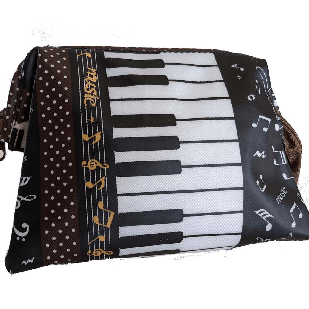 Music Bumblebees Music Bag Dark Brown Music Themed Water-resistant Portable Cosmetic Bag - Kittens & Keys Series