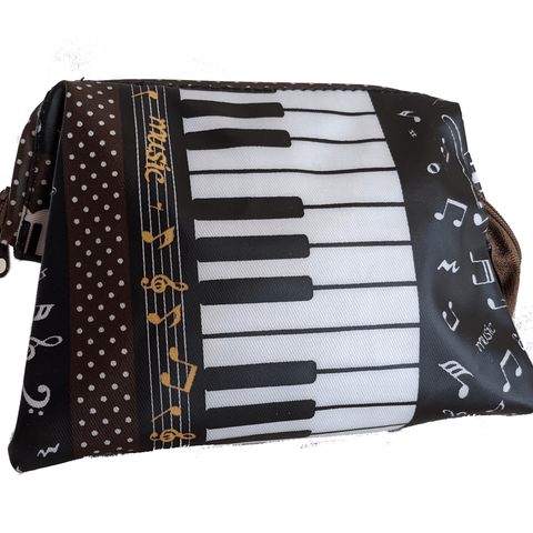 Image of Music Bumblebees Music Bag Dark Brown Music Themed Water-resistant Portable Cosmetic Bag - Kittens & Keys Series