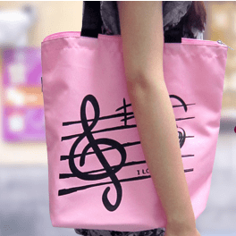 Image of Music Bumblebees Music Bag G Clef/ Treble Clef Music Cancas Tote Bag - Pink or Black