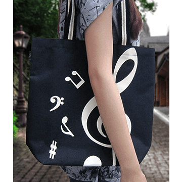 Music Bumblebees Music Bag G Clef/ Treble Clef Music Canvas Tote Bag Black