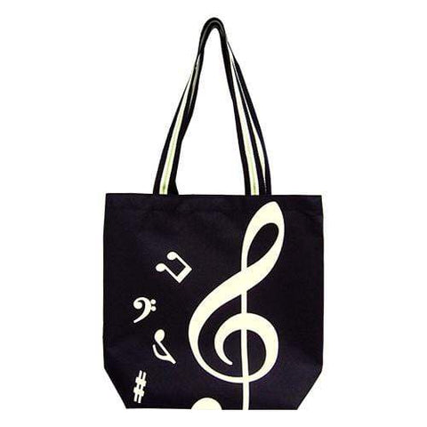 Image of Music Bumblebees Music Bag G Clef/ Treble Clef Music Canvas Tote Bag Black